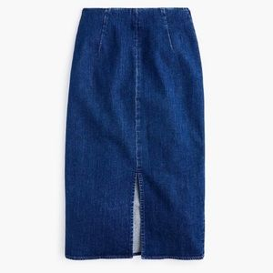 J.Crew Stretch Denim Pencil Skirt slit rockabilly
